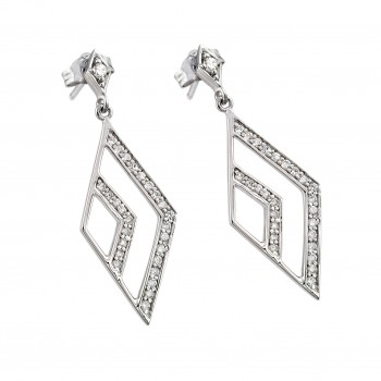 Sterling Silver Rhodium Plated Micro Pave Clear Open Marqui CZ Dangling Stud Earring ace00029