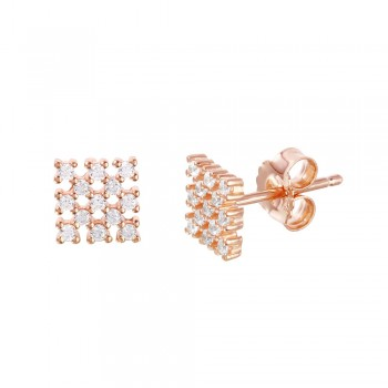 Sterling Silver Rose Gold Plated Small Square Checkered CZ Stud Earrings ACE00078RGP