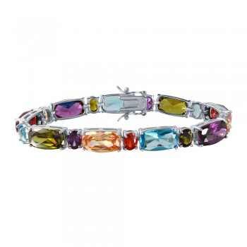 Sterling Silver Rhodium Plated Multi-Color CZ Bracelet BGB00254
