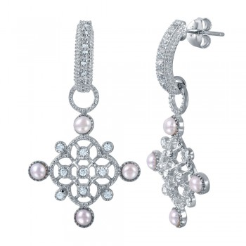 Sterling Silver Rhodium Plated Ornate CZ Dangling Semi-Huggie Earrings WIth Synthetic Pearl Accents - BGE00455