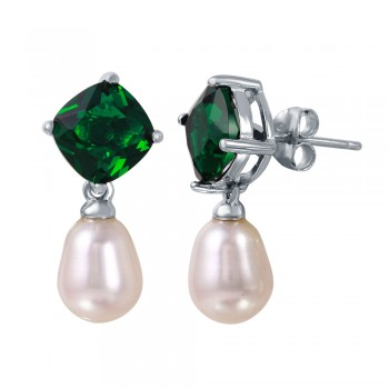 Sterling Silver Rhodium Plated Round Green CZ Dangling Fresh Water Pearl Earrings - BGE00448GRN