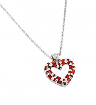Sterling Silver Garnet CZ Rhodium Plated Heart Pendant Necklace bgp00014