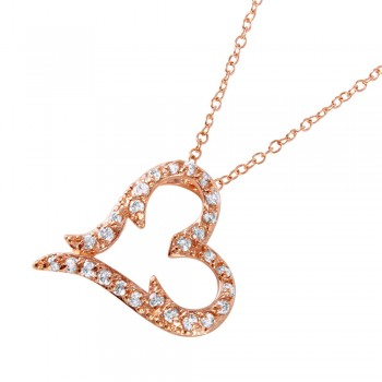 Sterling Silver Rose Gold Plated CZ Heart Pendant Necklace BGP00698
