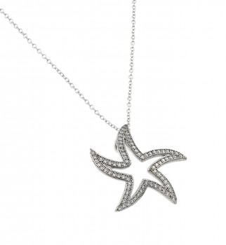 Sterling Silver Rhodium Plated Opne Curvy Star CZ Necklace