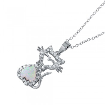 Sterling Silver Rhodium Plated Heart Opal Kitty Pendant Necklace BGP01042