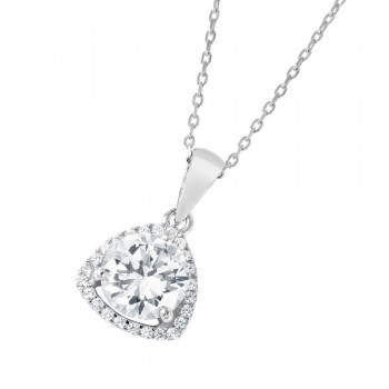 Sterling Silver Rhodium Plated CZ Open Triangular Necklace BGP01044