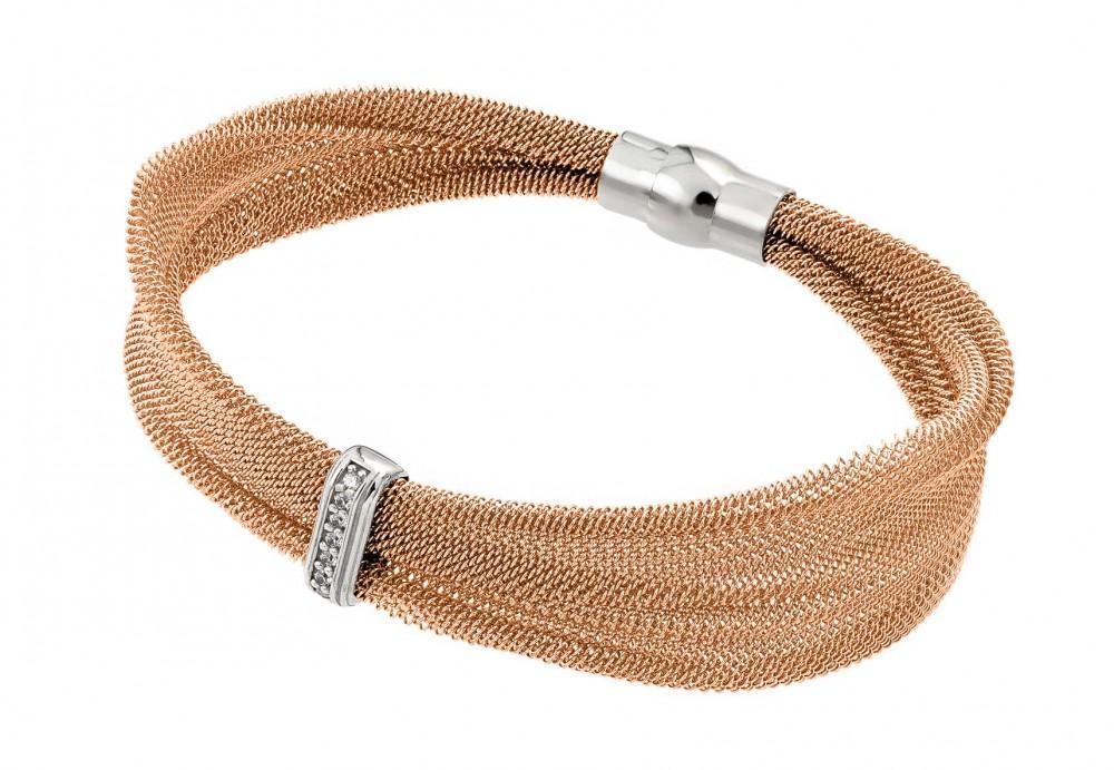 Sterling Silver Rose Gold Plated Mesh Italian Bracelet