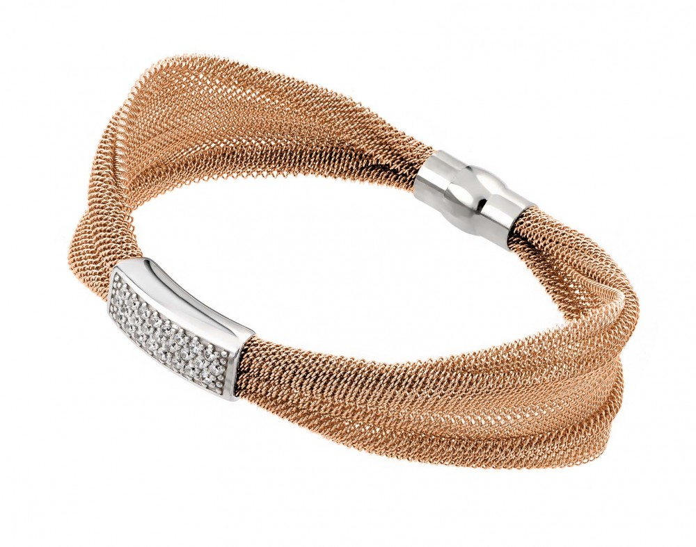Sterling Silver Rose Gold Plated Mesh Italian Bracelet JPB00004RGP
