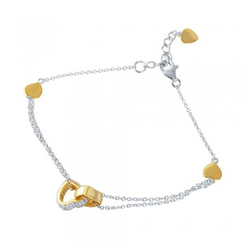 Sterling Silver Rhodium Plated CZ Gold Hearts Charm Bracelet STB00519