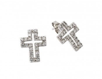 Sterling Silver Rhodium Plated Cross Clear CZ Inlay Stud Earring ste00023
