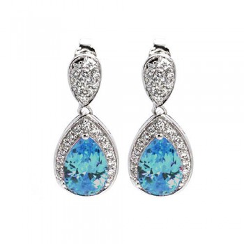 Sterling Silver Rhodium Plated Blue Teardrop & Clear CZ Dangling Stud Earring STE00670BLU