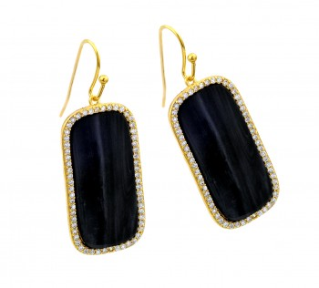 Sterling Silver Gold Plated Rectangular Black CZ Hook Earring ste00939