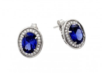 Sterling Silver Rhodium Plated Round Blue CZ Stud Earring ste00940