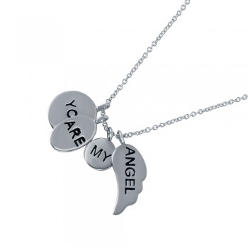 Sterling Silver Rhodium Plated 'You Are My Angel' Charm Necklace STP01490
