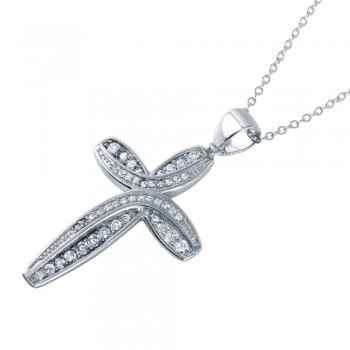 Sterling Silver Rhodium Plated CZ Rounded Cross Pendant Necklace STP01493
