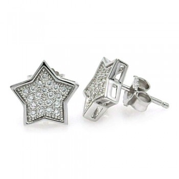 Sterling Silver Rhodium Plated Micro Pave Clear Star CZ Stud Earring ace00037