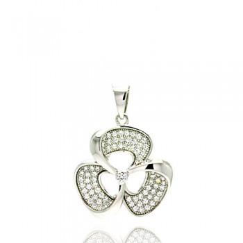 Sterling Silver Rhodium Plated Micro Pave Clear CZ Flower Pendant acp00054