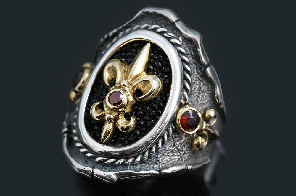 Allegra Fleur-De-Lis Stingray Skin Red Ruby Silver Ring MR-146