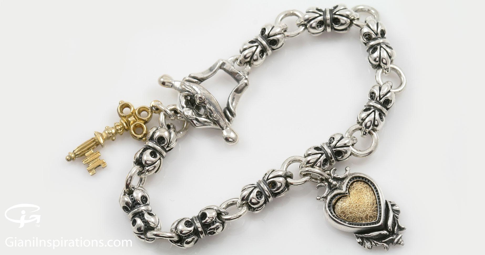 giani inspirations fleur de lis chain key charm