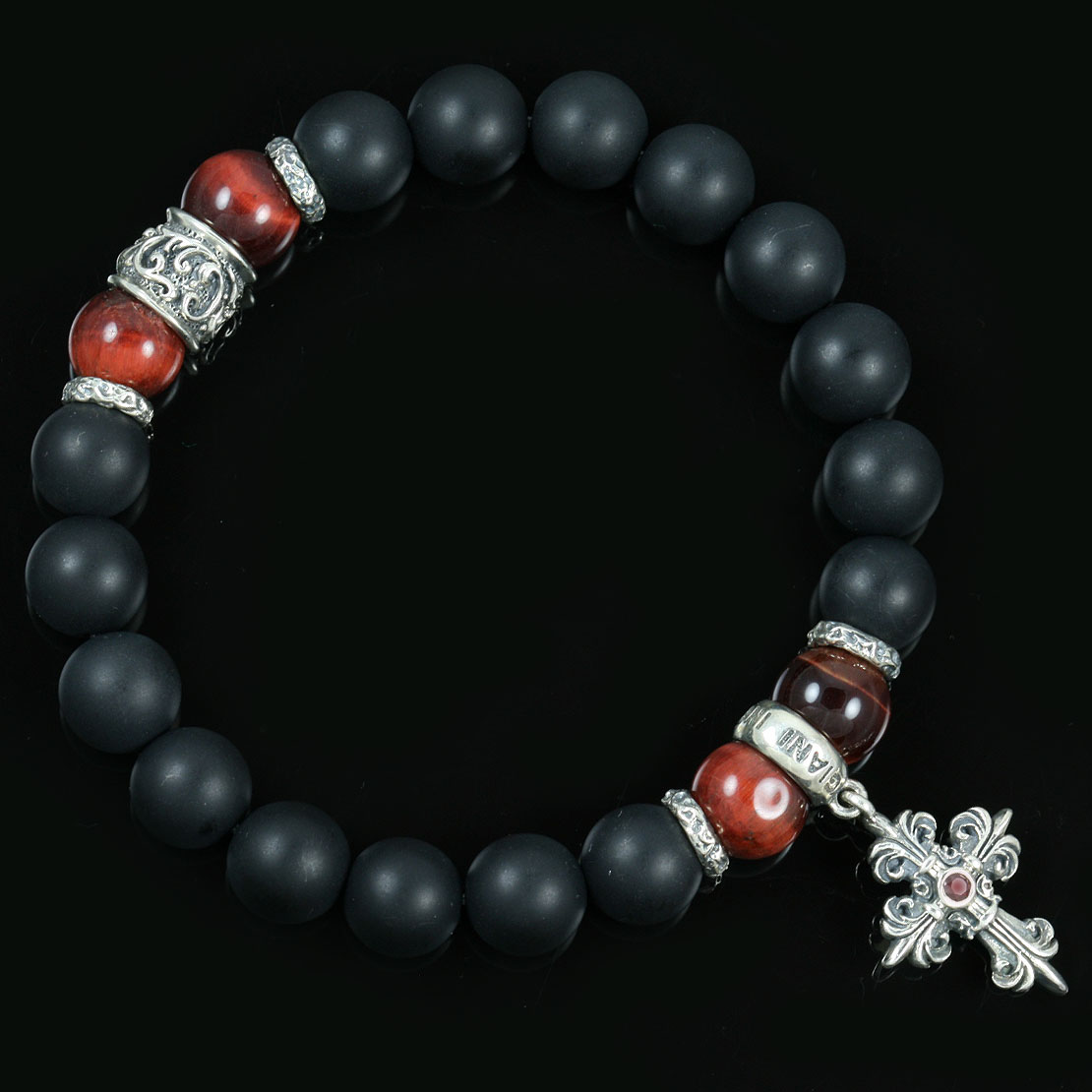 sterling jewelry bb matte inspirations tiger bracelet silver eye giani red onyx bead beaded gothic black cross
