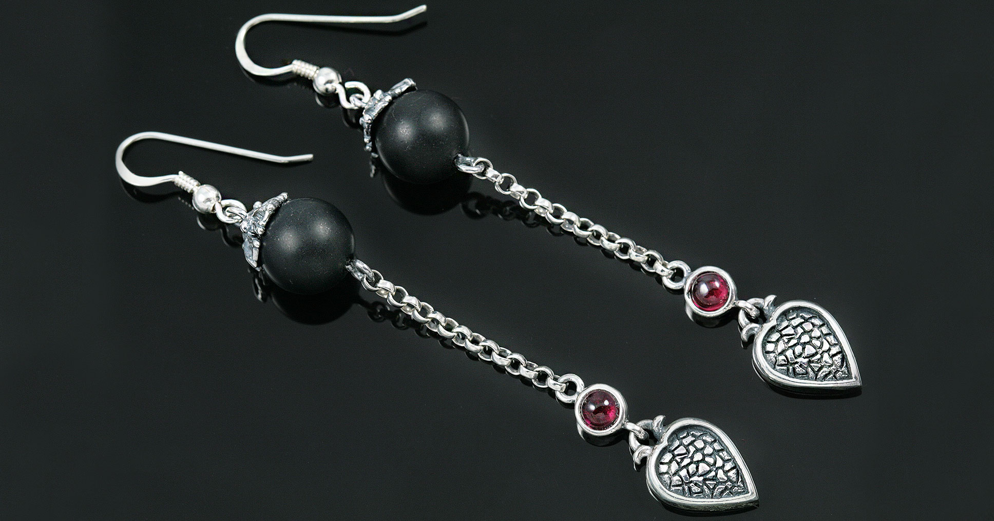 er earrings inspirations heart onyx beads jewelry silver drop giani liaro