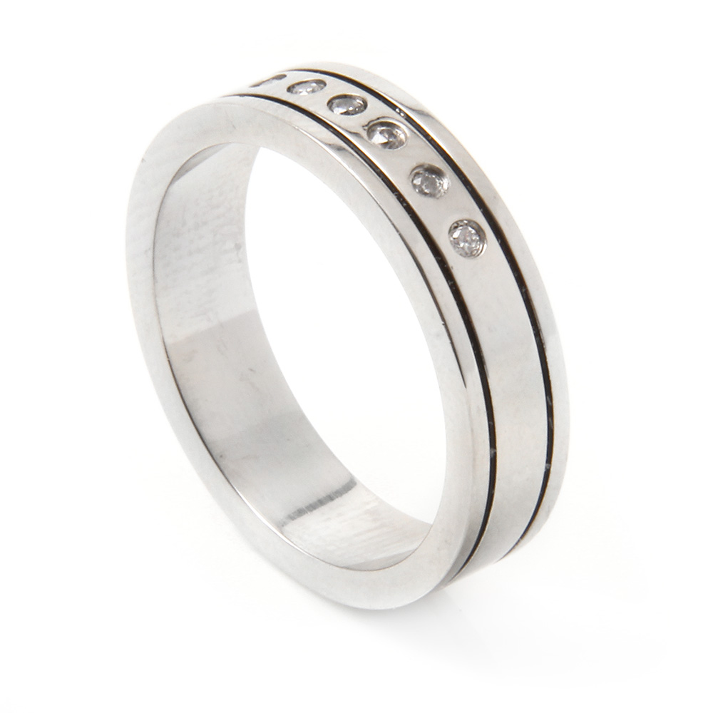 Men's Stainless Steel CZ Ring SSRB028