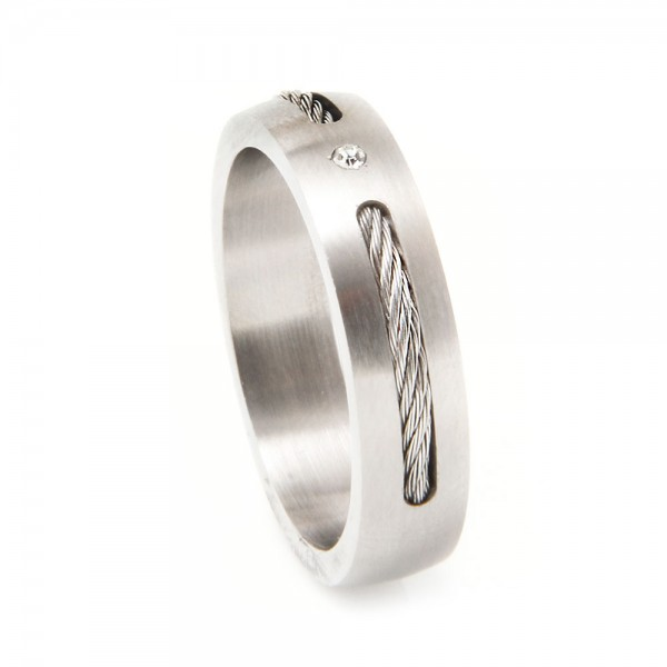 Men's Stainless Steel Cable Ring SSRB017