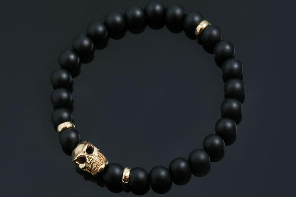 Neron Italian Bronze Skull 8MM Matte Black Onyx Beaded Bracelet BB-054B