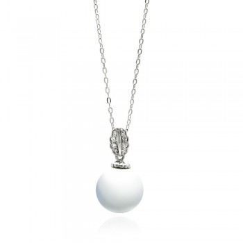 Clear CZ Leaf Pearl Pendant Necklace SBBP00090