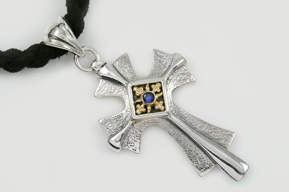Radiant Cross Natural Blue Sapphire Two Tone Silver Pendant PT-060