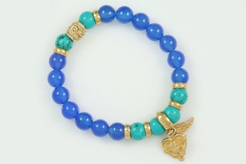 Rose Heart and Wing 8mm Blue Agate and Turquoise Beaded Silver Bracelet BB-071