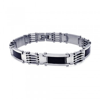 Stainless Steel Black Carbon Fiber Bracelet SSSB00079
