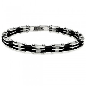 Stainless Steel Black Link Bike Chain Bracelet SSSB00080