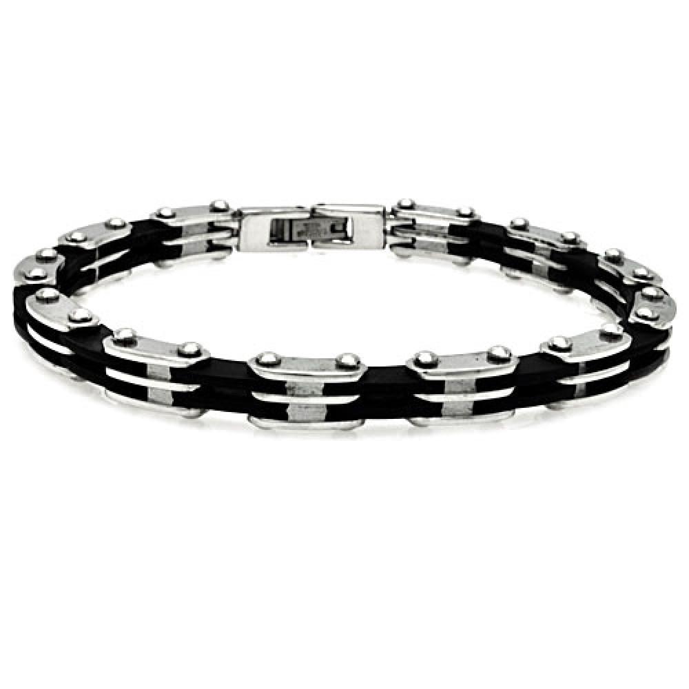 stainless steel black link bike chain bracelet sssb00080
