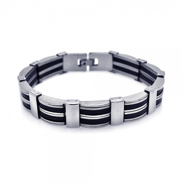 Stainless Steel Black Rubber Bracelet SSSB00046