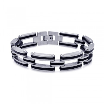 Stainless Steel Black Rubber Chain Link Bracelet SSSB00001