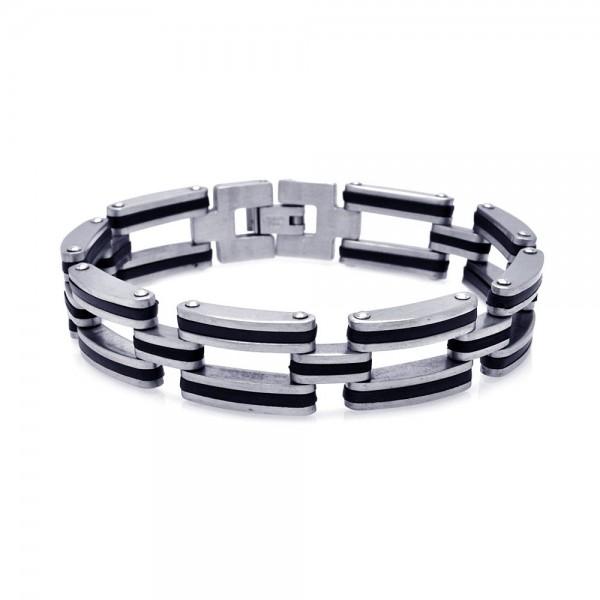 Stainless Steel Black Rubber Chain Link Bracelet SSSB00001