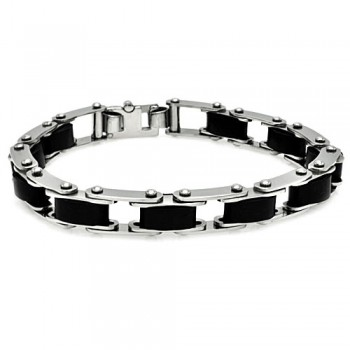 Stainless Steel Rubber Link Bike Chain Bracelet SSSB00121