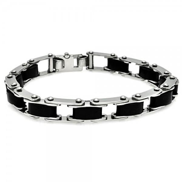 Stainless Steel Rubber Link Bike Chain Bracelet SSSB00121