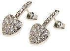 Sterling Silver Rhodium Plated Heart CZ Stud Earring ste00175