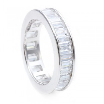Sterling Silver CZ Stackable Baguette Eternity Band SSTR00124CLR