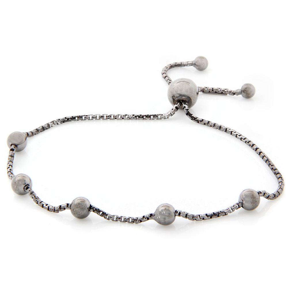 Sterling Silver Beaded Italian Lariat Bracelet SARB00017BLK