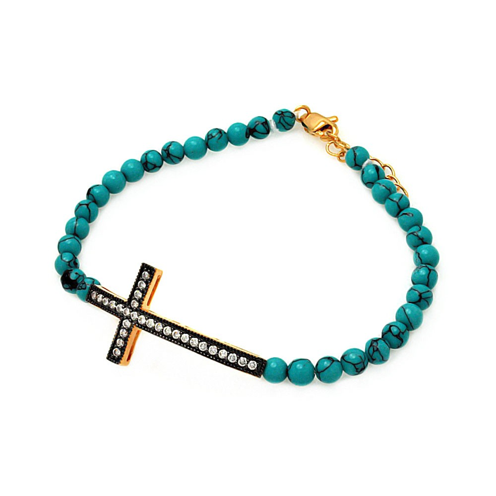 Sterling Silver Black & Rose Gold Sideways Cross CZ Turquoise Beads Bracelet SBGB00120