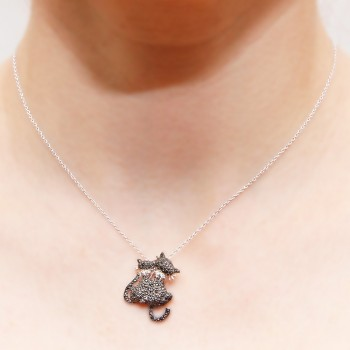 Sterling Silver Black Kitty Necklace SSTP01048