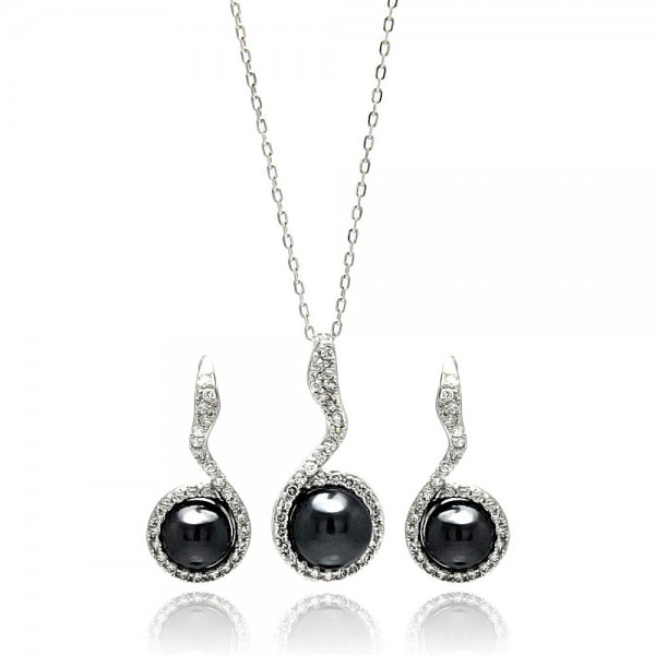 Sterling Silver Black Pearl CZ Earring and Necklace Set SBGS00272