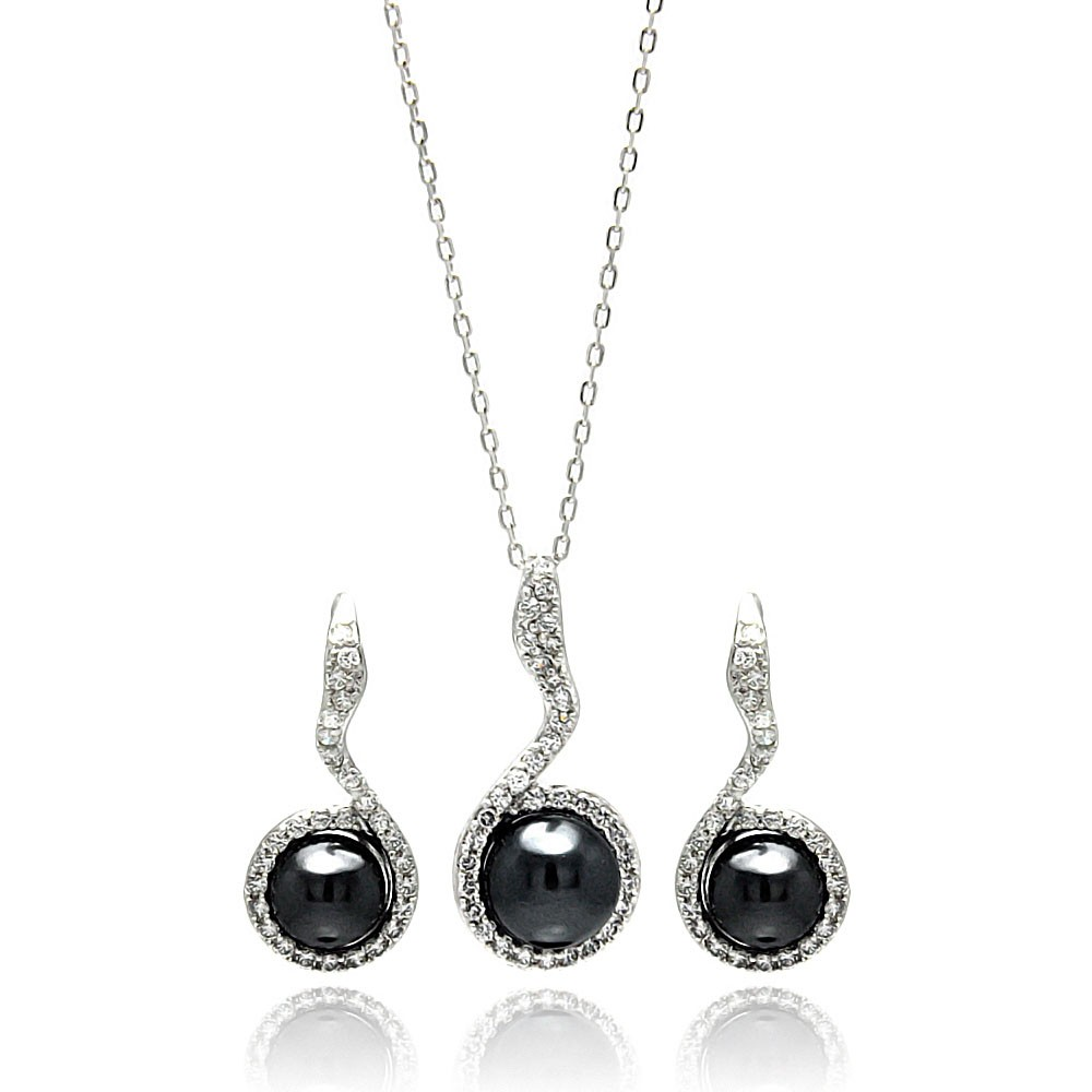 Black pearl jewelry sets : Sterling silver black pearl cz earring and necklace set