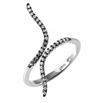 Sterling Silver Black Wave Ring SBGR00973