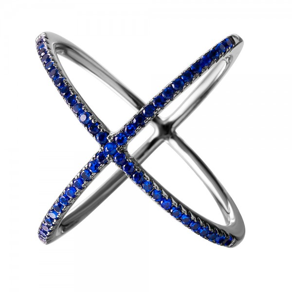 Sterling Silver Blue Criss Cross Ring SGMR00039BLK