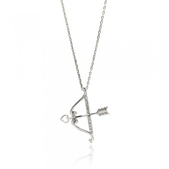 Sterling Silver Bow and Arrow Pendant Necklace SBGP00661
