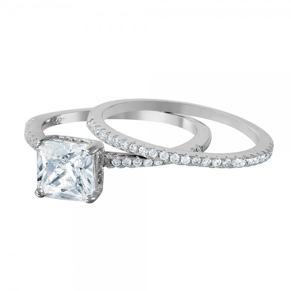 Sterling Silver Bridal Ring Set with Square CZ Center Stone SBGR01011